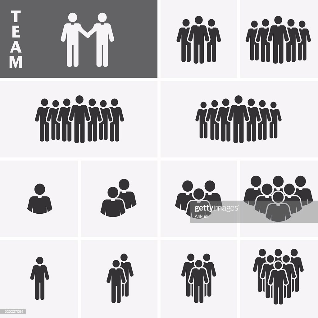 Businessman Icons set. Team Icons. Crowd of people.