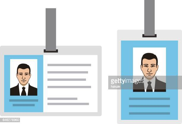 businessman id card, name badge - id card template stock illustrations