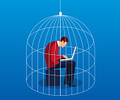 Businessman in a cage