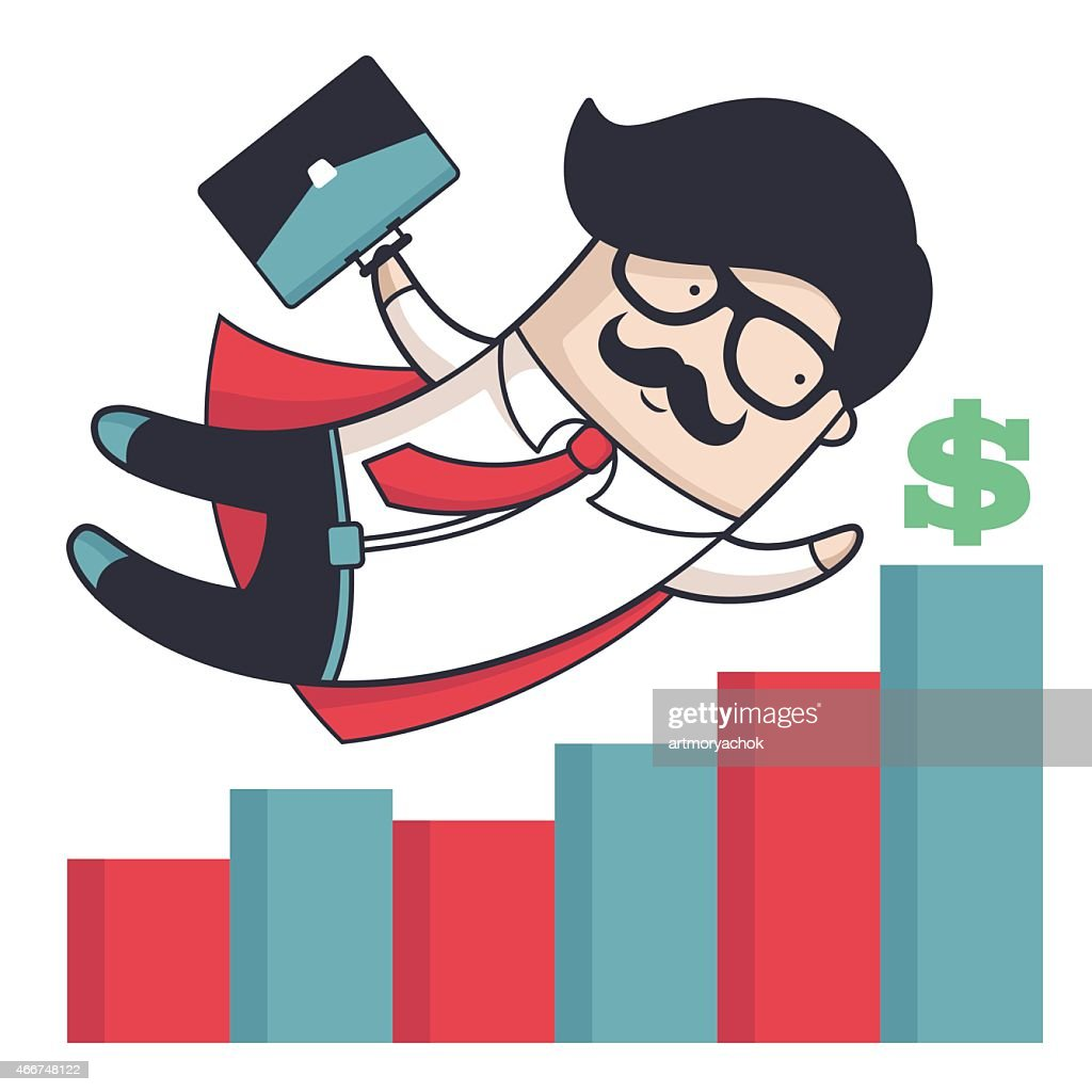 Businessman in a cape flying over a financial bar graph