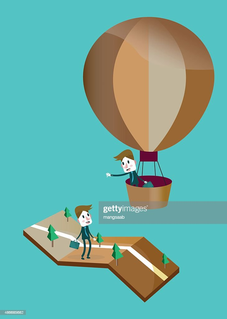 Businessman in a hot air balloon say hi with friend.