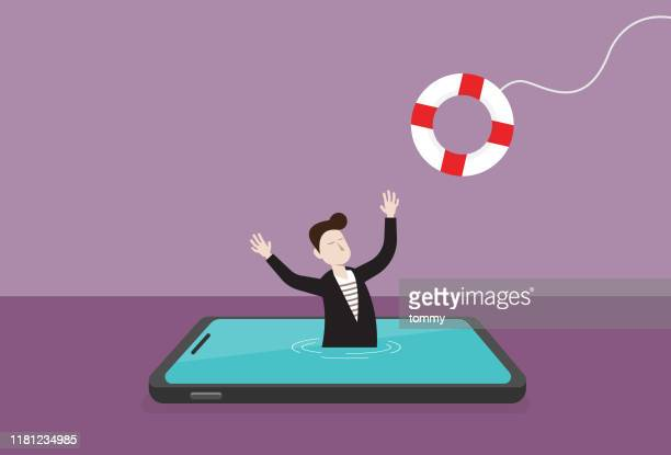 businessman in a mobile phone and lifebuoy - head above water stock illustrations