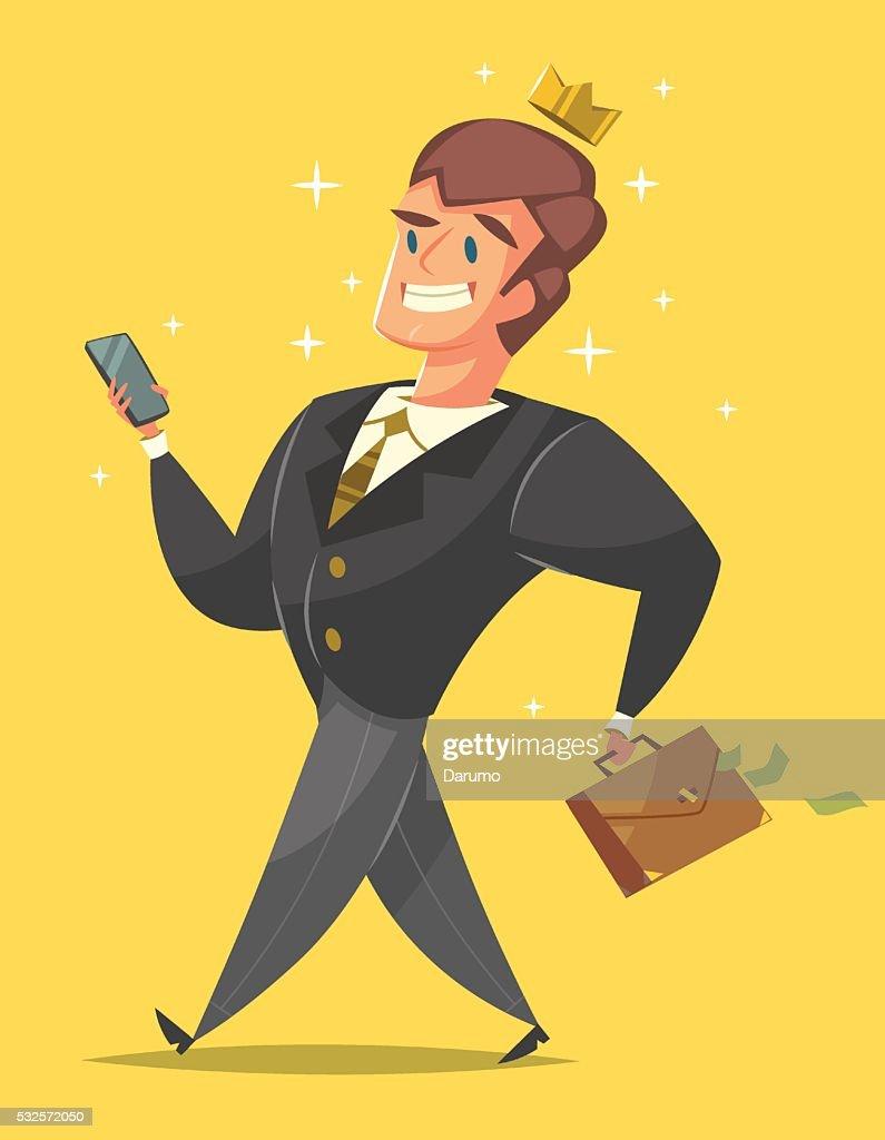 Businessman in a suit is walking like a king