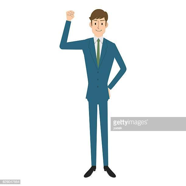 ilustraciones, imágenes clip art, dibujos animados e iconos de stock de businessman in a victory pose - un solo hombre