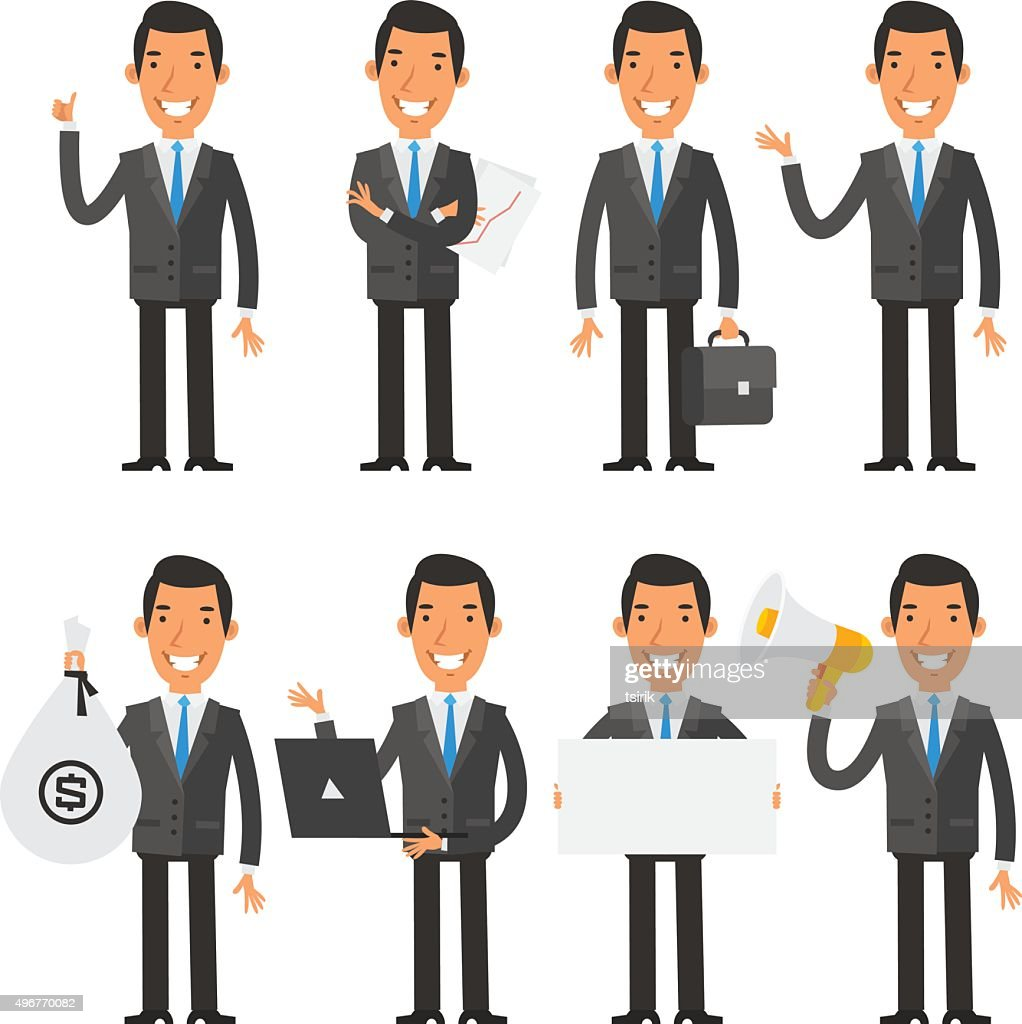 Businessman in blue tie in different poses