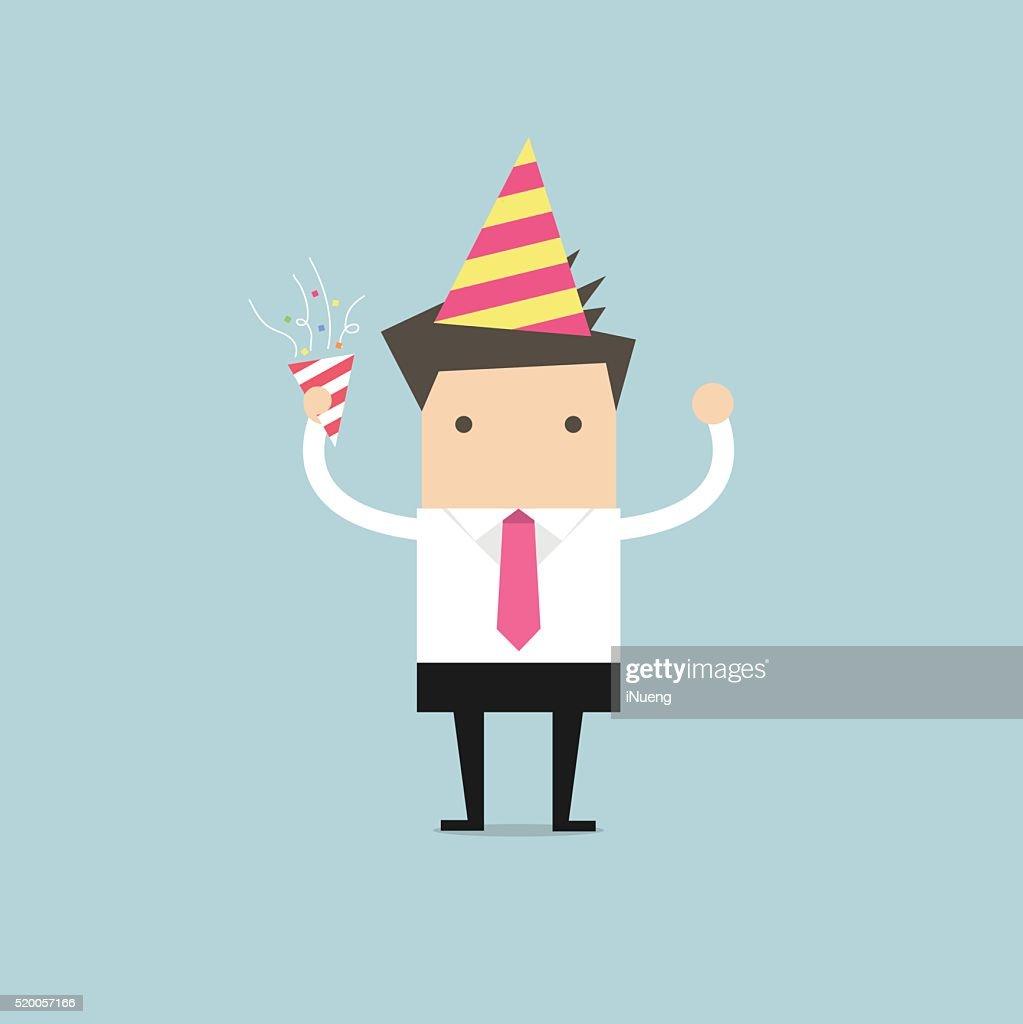 Businessman in celebration party,