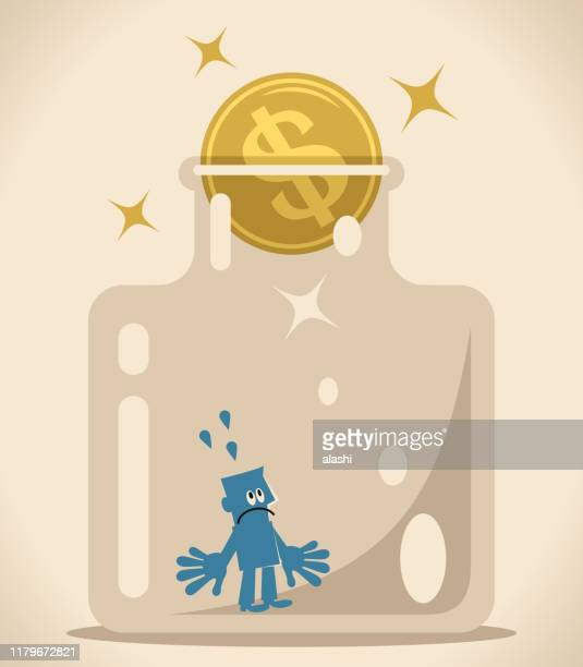 businessman in confined space glass bottle with dollar sign coin as a cork (airtight container) - cork stopper stock illustrations, clip art, cartoons, & icons
