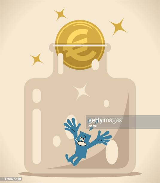 businessman in confined space glass bottle with euro sign coin as a cork (airtight container) - cork stopper stock illustrations, clip art, cartoons, & icons