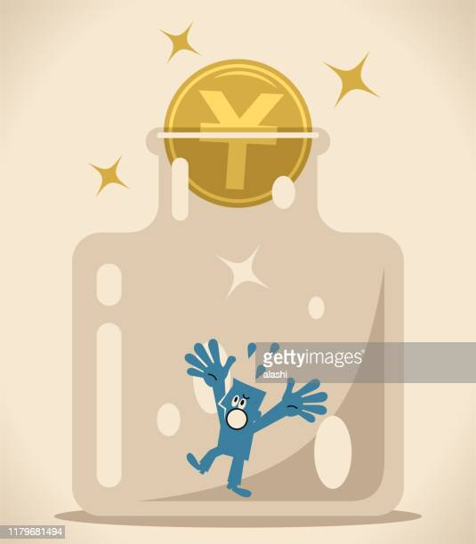 businessman in confined space glass bottle with yuan sign coin as a cork (airtight container) - cork stopper stock illustrations, clip art, cartoons, & icons
