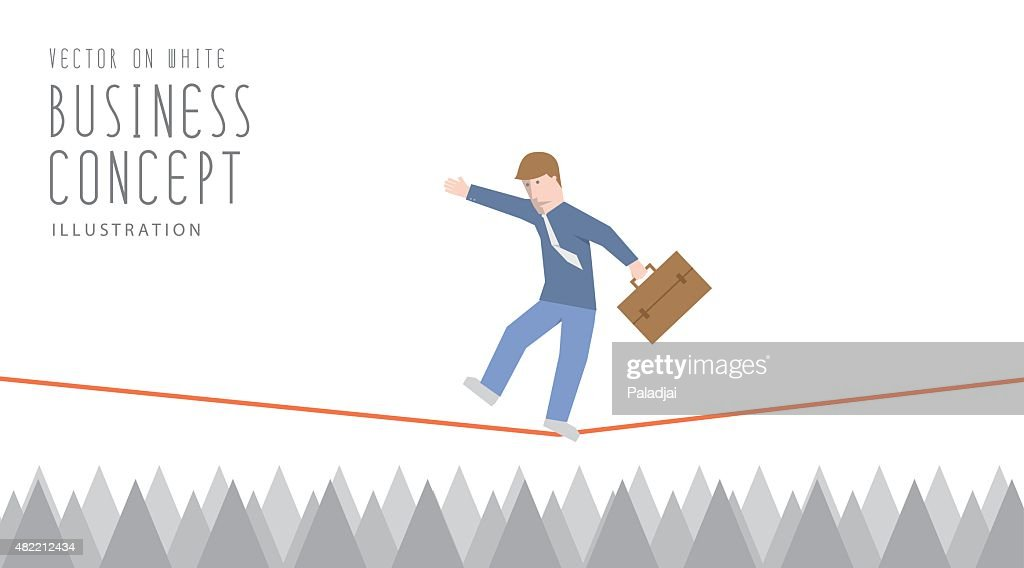 Businessman in equilibrium on a rope over sharp thorns.