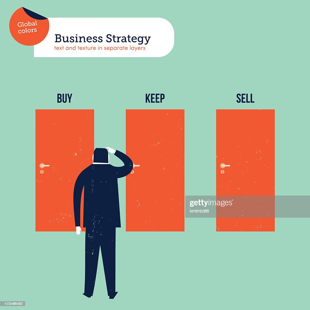 Businessman in front of three doors buy sell keep