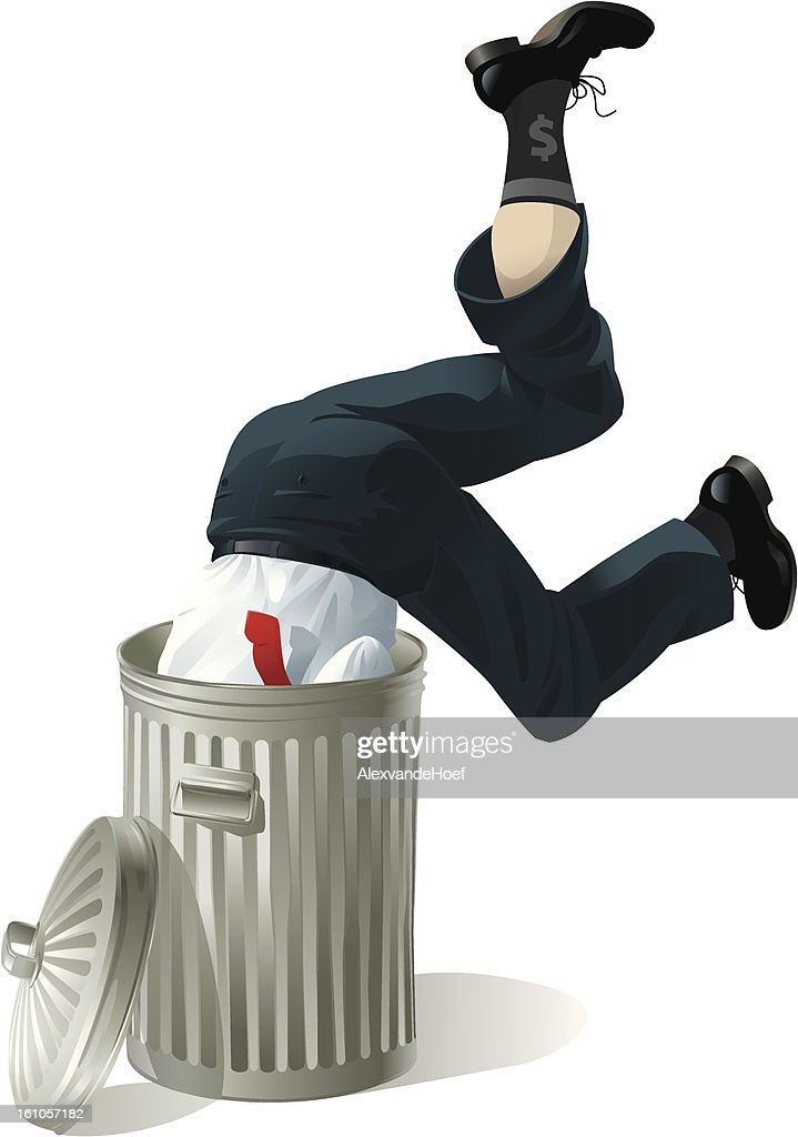 Businessman in Garbage Bin : Vector Art