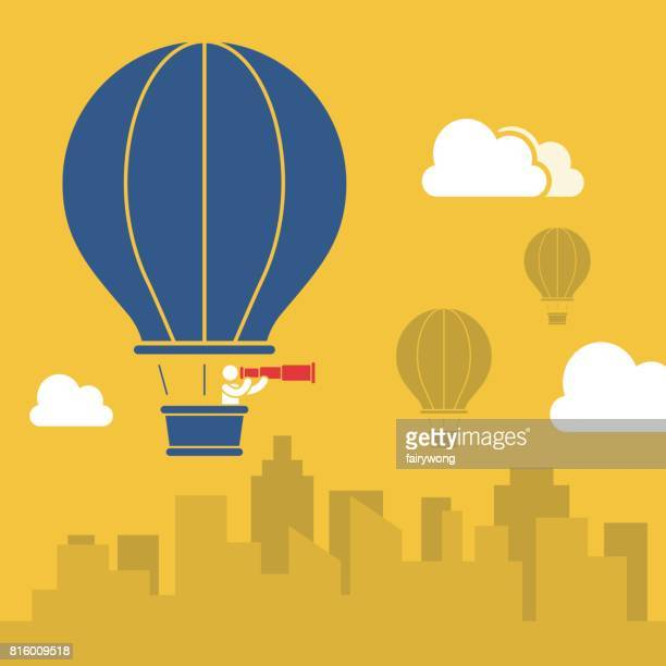 businessman in hot air balloon - hot air balloon stock illustrations, clip art, cartoons, & icons