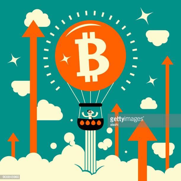 illustrazioni stock, clip art, cartoni animati e icone di tendenza di uomo d'affari (minatore) in mongolfiera con simbolo di valuta bitcoin, che si muove verso l'alto con freccia verso l'alto nel cielo. bitcoin mining (mining di criptovalute) - bitcoin