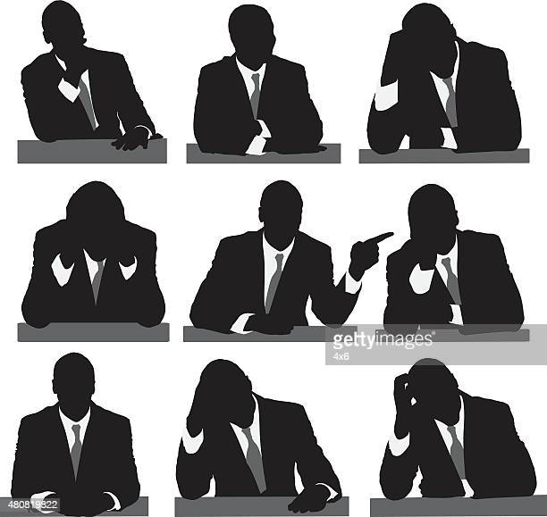 Businessman in multiple actions