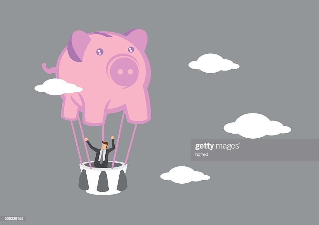 Businessman in Piggy Bank Hot Air Balloon Vector Illustration