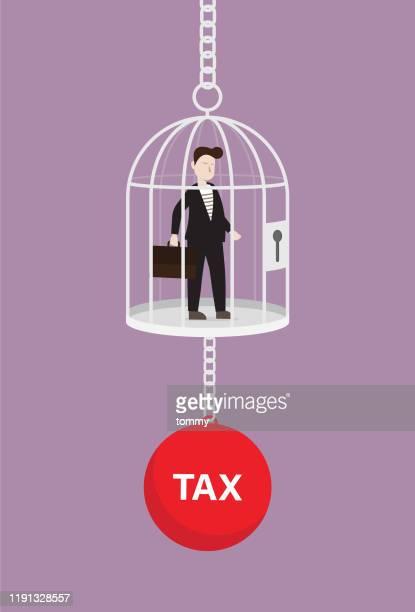 ilustraciones, imágenes clip art, dibujos animados e iconos de stock de empresario en la jaula con una carga fiscal - impuestosobrelarenta