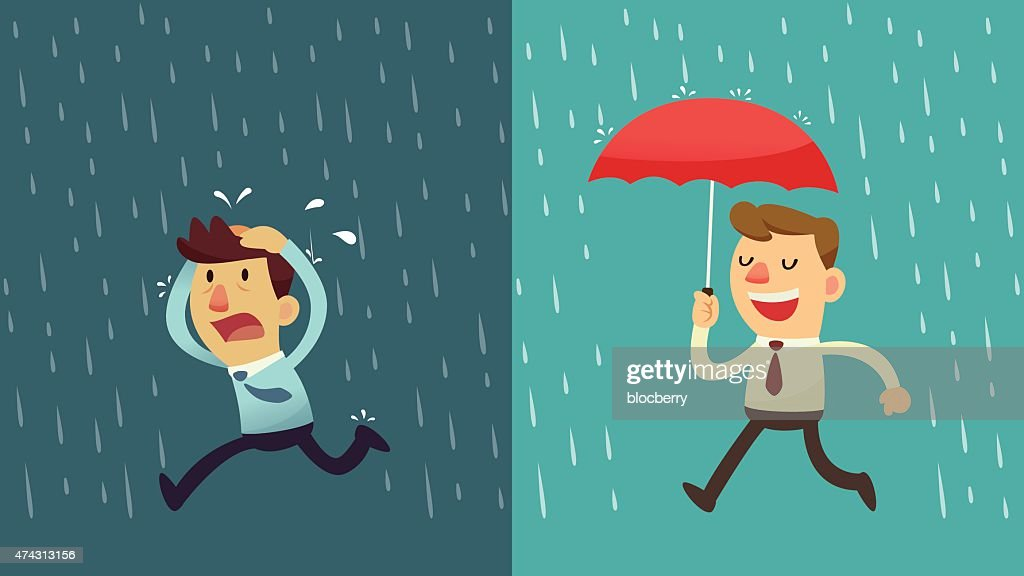 businessman in the rain - preparation