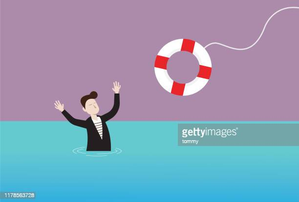 businessman in the water and lifebuoy - lifeguard stock illustrations
