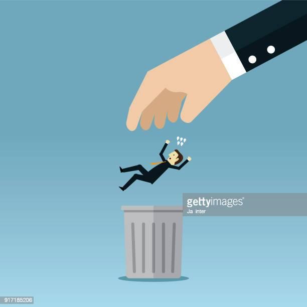 ilustraciones, imágenes clip art, dibujos animados e iconos de stock de empresario en la basura - tirar basura