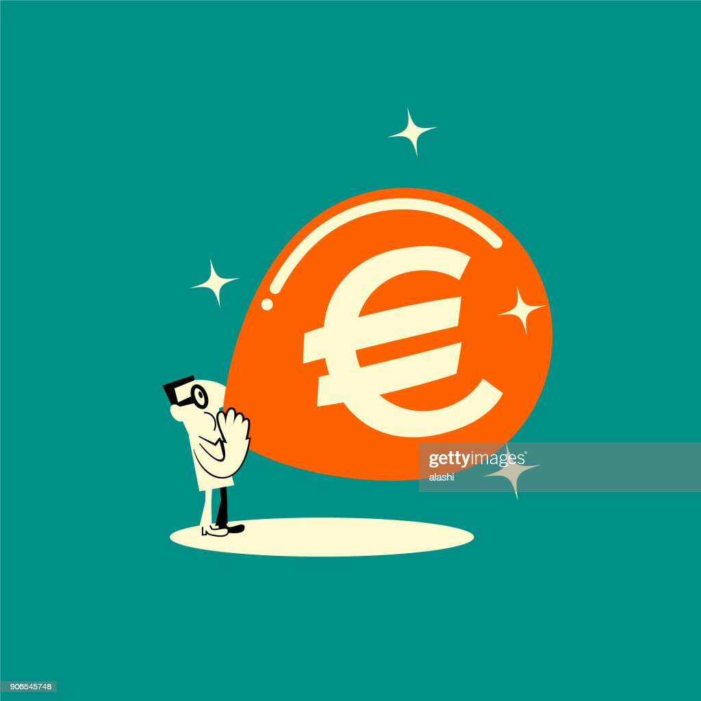 Businessman The Euro Sign Shaped Balloon Vector Art Getty Images