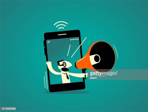 Businessman inside of a smart phone (mobile phone) with megaphone, live streaming