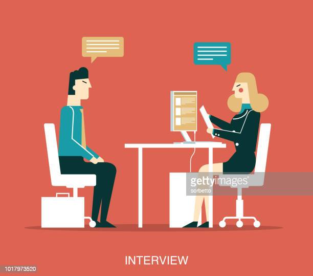 businessman - interview - interview stock illustrations, clip art, cartoons, & icons