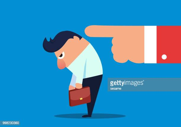 businessman is blamed for head down - regret stock illustrations
