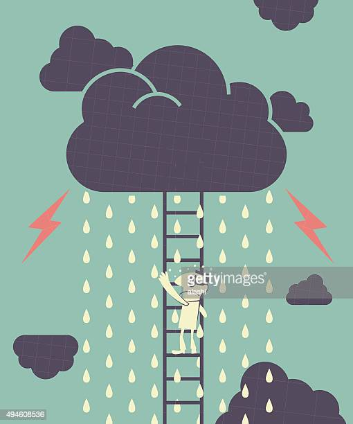 Businessman is climbing ladder, dark clouds is raining and Lightning