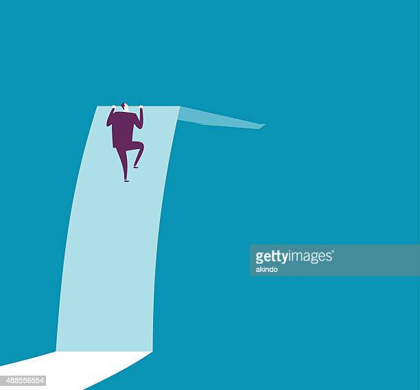 businessman is climbing to the top of arrow sign - high up stock illustrations, clip art, cartoons, & icons
