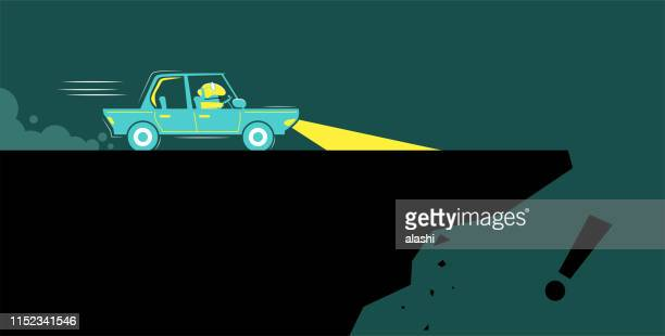 businessman is driving the wrong direction and the car is going to roll over the edge of a cliff - wrong way stock illustrations, clip art, cartoons, & icons