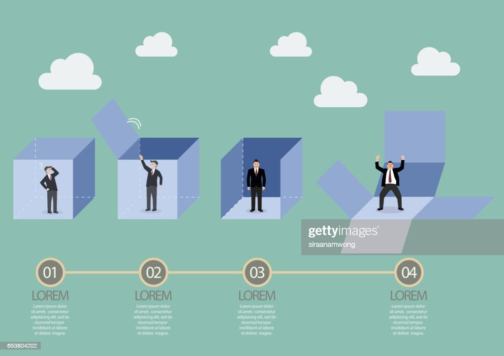 Businessman is getting out of the box infographic