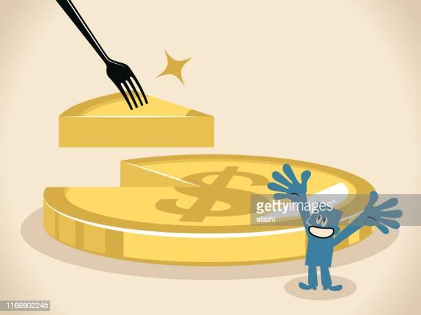 ilustraciones, imágenes clip art, dibujos animados e iconos de stock de a un empresario se le da una porción de dinero en un tenedor y un pastel de moneda de signo de dólar (pastel) con la rebanada que falta - impuesto sobre la renta