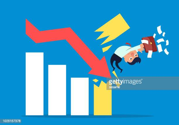 businessman is hit by falling arrow - failure stock illustrations