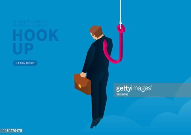 geschäftsmann wird in der luft von riesigen haken aufgehängt - angelhaken stock-grafiken, -clipart, -cartoons und -symbole
