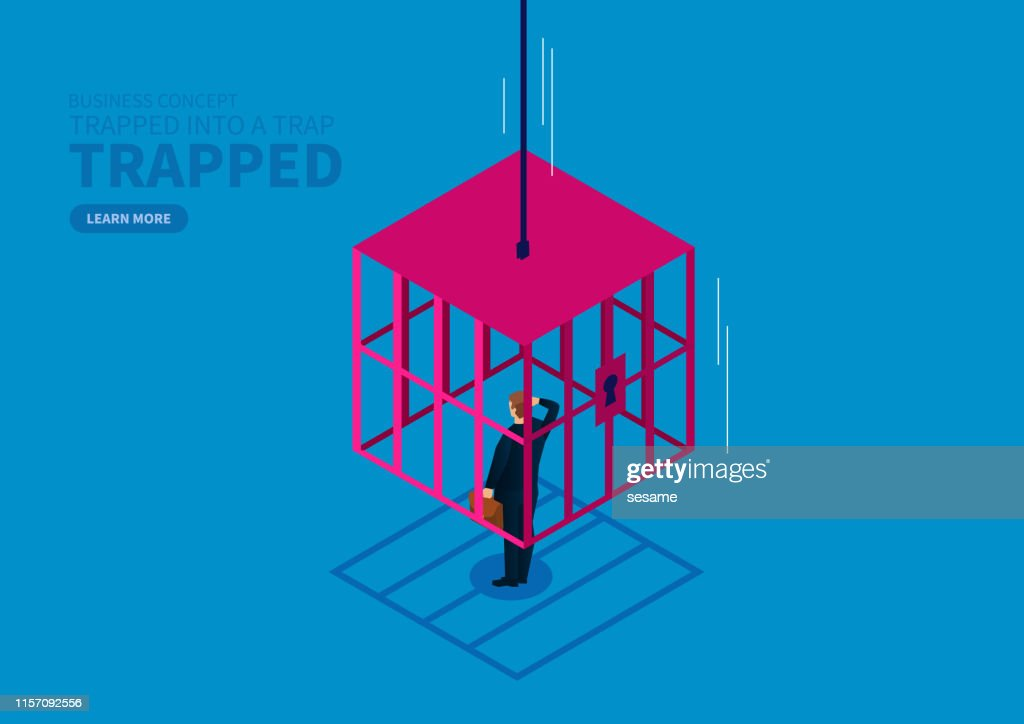 Businessman is locked by the falling iron cage : stock illustration