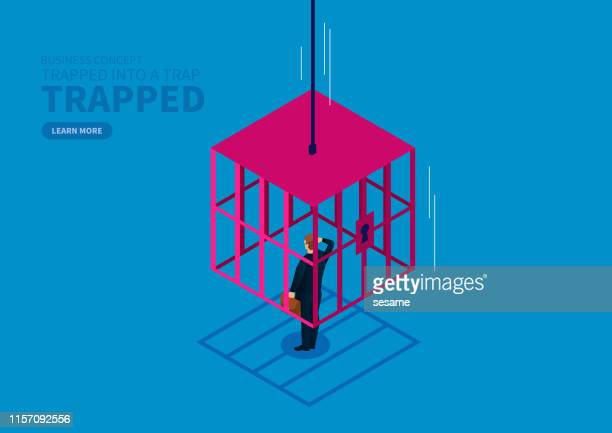 businessman is locked by the falling iron cage - trapped stock illustrations