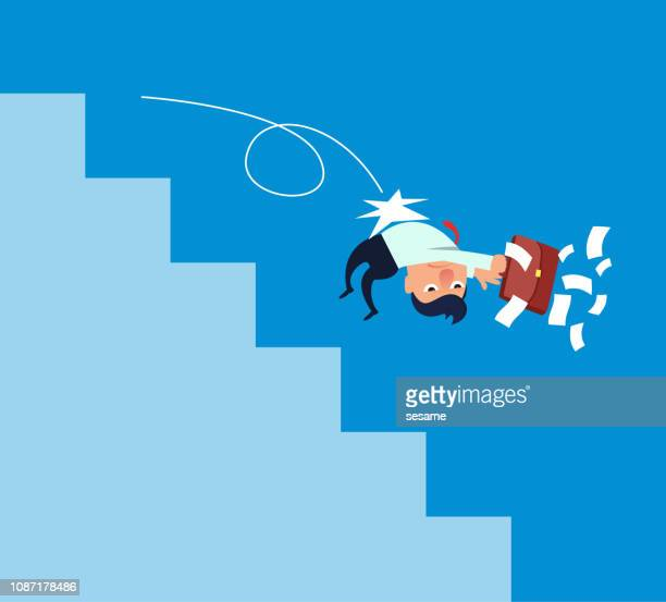 businessman is pushed down the stairs - careless stock illustrations, clip art, cartoons, & icons