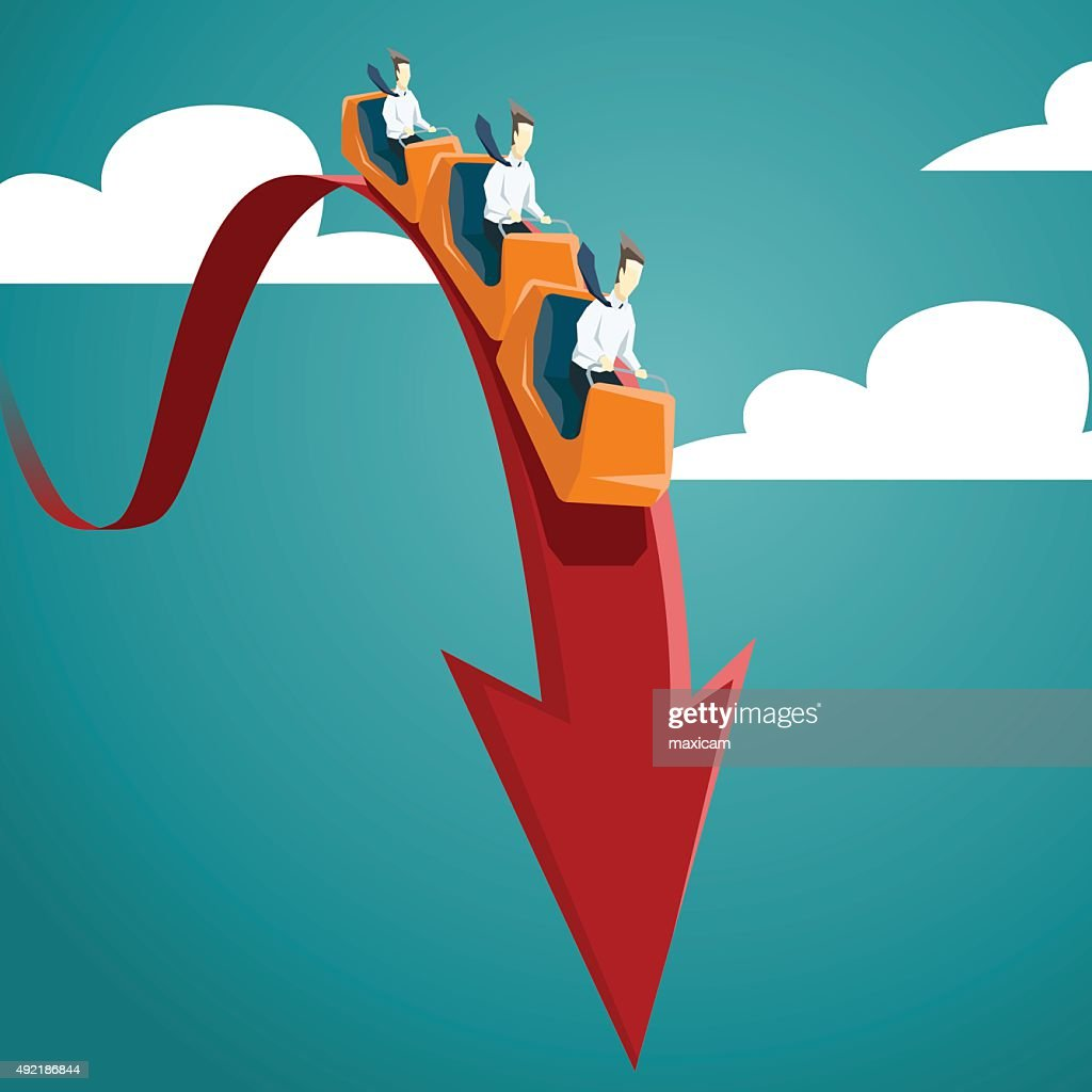 Businessman is riding on a roller coaster