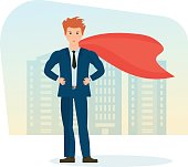 Businessman is superhero, in business clothes on background of city