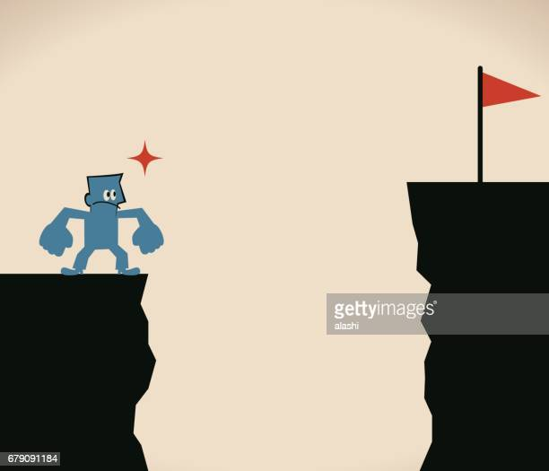 businessman (man, politician) is thinking about how to cross over the cliff - crag stock illustrations, clip art, cartoons, & icons