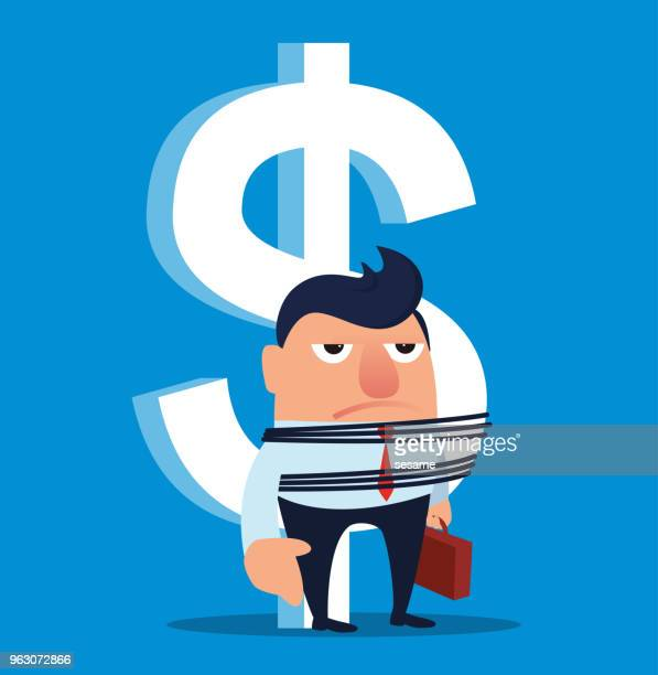 Businessman is tied to the dollar