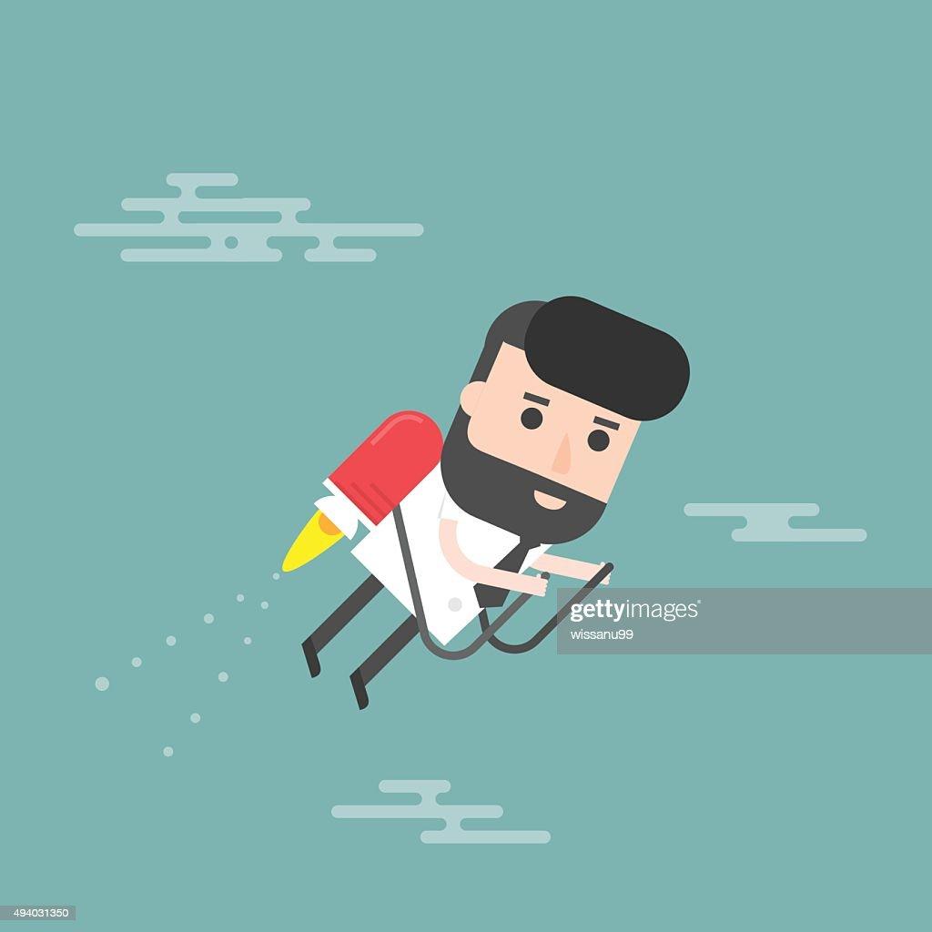 Businessman Jet. Concept Of The Fast Success.