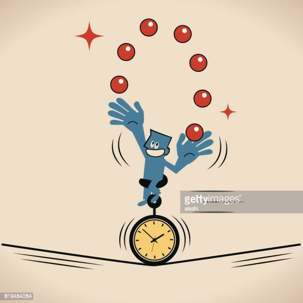 businessman (man) juggling balls and riding unicycle (unicycling) with time clock tire on a rope, concept about multi-tasking and time management - juggling stock illustrations, clip art, cartoons, & icons