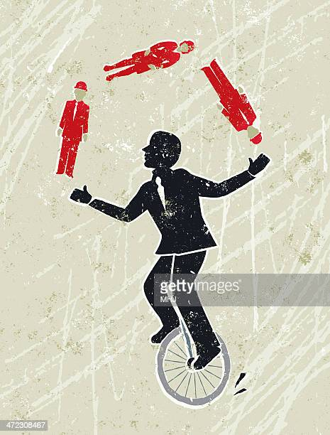 Businessman Juggling Men and Women Whilst Riding a Unicycle