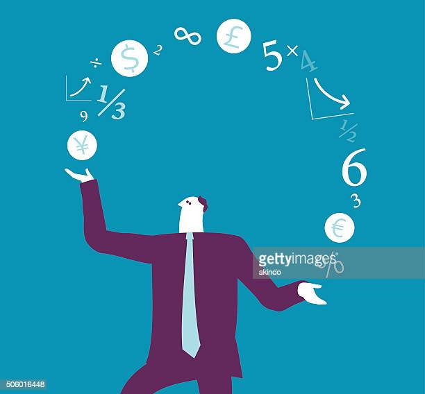 businessman juggling with finance sign - juggling stock illustrations, clip art, cartoons, & icons