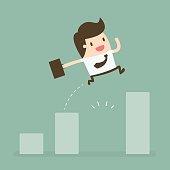 Businessman Jump Through The Gap In Growth Chart