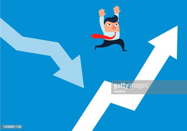 businessman jumping from falling arrow to rising arrow - long jump stock illustrations