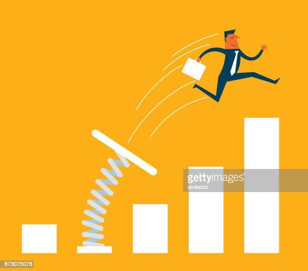 illustrations, cliparts, dessins animés et icônes de saut homme d'affaires du tremplin - développement