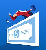 Businessman jumping huge dollar